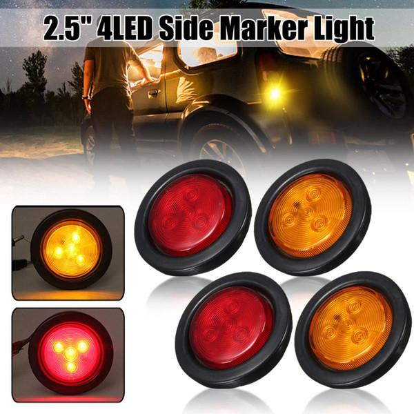 """truck trailer 10-30v 12v 2.5"""" round side marker led light signal lamp 4led amber/red 1/2pcs truck tail light car assembly"""