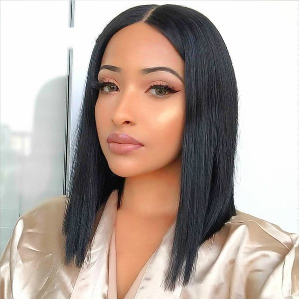 Grace Short Blunt Cut Bob Wig For Black Women With Pre-Plucked Hairline Brazilian Remy Hair Short Lace Front Human Hair Wigs