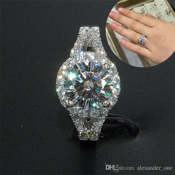 wholesale Fashion luxury 10KT white gold filled Ellipse Cushion-cut Zircon Gemstone Rings Wedding Brand Jewelry for Women