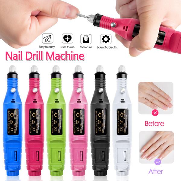 UE / US Plug Percer Nail électrique manucure machine Fraises machine Nail Art Forets Nail File Ponçage Outils d'équipement de fichier Drill Set