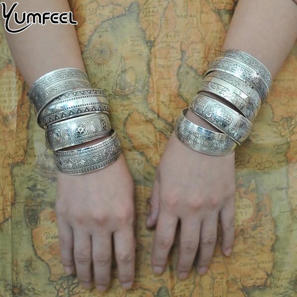 cuff bracelet Yumfeel Factory Wholesale Jewelry Vintage Bangles Bracelet Antique Tibetan Silver Cuff Bracelets for Women