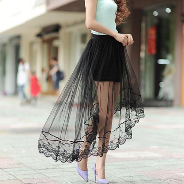 bb9b6d4cf Compre Nuevas Mujeres Atractivas Hilo De Malla Falda De Cola De Milano  Encaje Elegante Faldas Largas De Tul Jupe Faldas De Cintura Alta A $38.73  Del ...