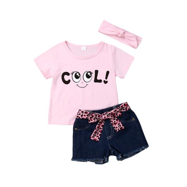 2019 4Pcs/set Outfit Baby Kids Girls Cotton Pink Cool Printed Tops+ Short+Belt + Bow-knot Headband Summer Kid Girl Clothes Summer Set