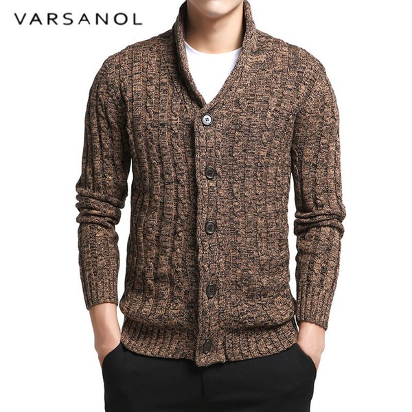 Varsnaol New Brand Sweater Men V-Neck Solid Slim Fit Knitting Mens Sweaters Cardigan Male 2018 Autumn Fashion Casual Tops Hots