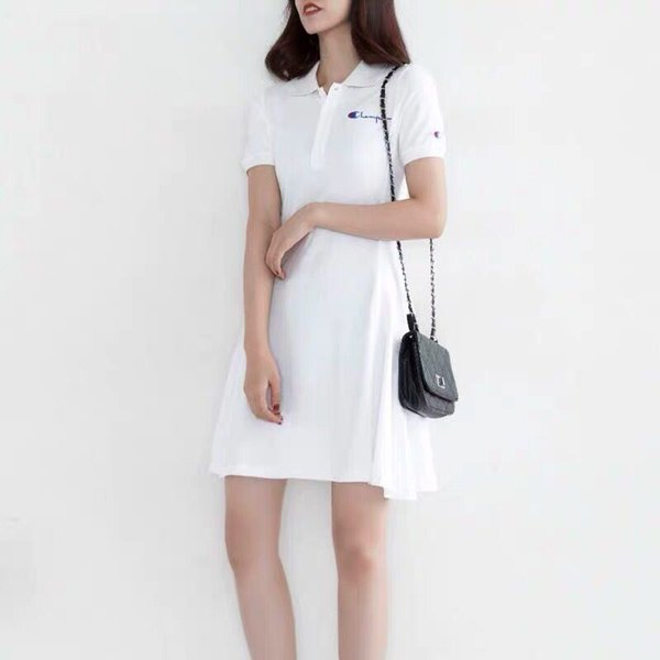 Summer Women Embroidery Shirt Dress Casual Big C Cotton Polo A-Line Skirt Female Fresh Sweet Apparel