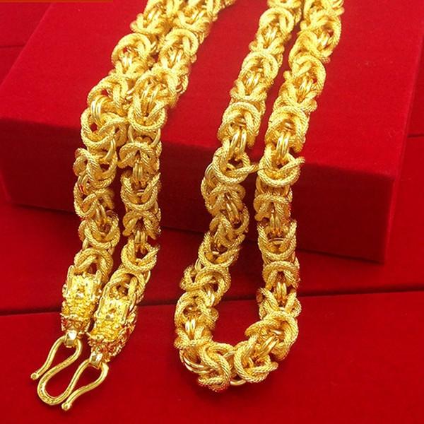 Collar Para Hombre Collar de Cadena Para Hombre Collar de Oro Lleno de Hip Hop Grueso Trenzado Chunky Gargantilla Collar Joyería de Moda 24 Pulgadas J190526