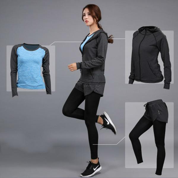 Toppick mulheres yoga set ginásio roupas de fitness camisa de tênis + calças de corrida apertado jogging workout yoga leggings esporte terno plus size