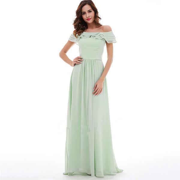 f41db5462f 2018 Elegant Minit Chiffon Bridesmaid Dresses Custom Off Shoulder Long  Evening Prom Dresses Pick Ups Floor Length Women Formal Gowns