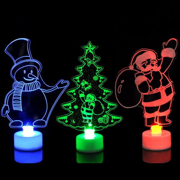 Colorido Luzes Decorativas LED Produtos de Ano Novo Decorações Da Árvore de Natal Fontes Do Partido Acrílico Luzes Da Noite de Natal Presente