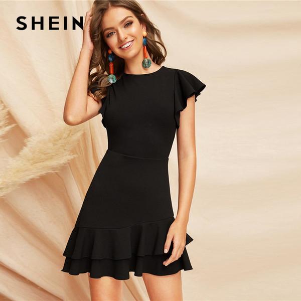 Elegantes schwarzes v-back geschichtetes Rüsche-Rand-Flutter-Hülsen-Sommer-Partei-Kleid-Frauen-feste Aufflackern eine Linie elegante Kleider C19041001