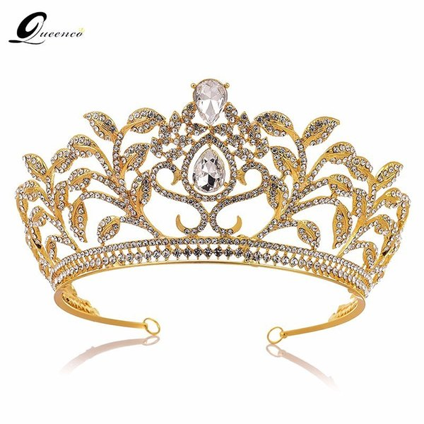Baroque Crown Drop Blue Red Crystal Tiaras Vintage Gold Rhinestone Pageant Crowns With Comb Baroque Wedding Hair Accessories