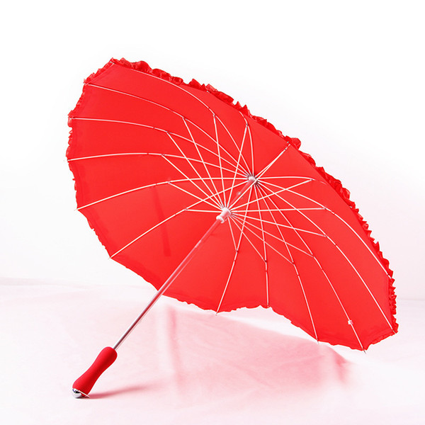 Red Heart Shape Umbrella Women Umbrellas For Valentine Wedding Party Engagement Photo Props Long Handle Unbrellas