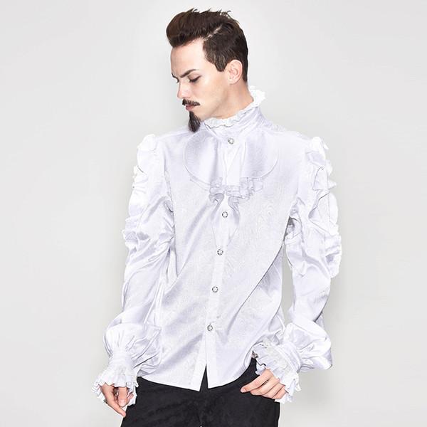 Diable Mode Hommes Steampunk victorien Vintage Chemise Cour manches Soirée de fête Chemises Noir Blanc gothique Tuxedo Chemisier