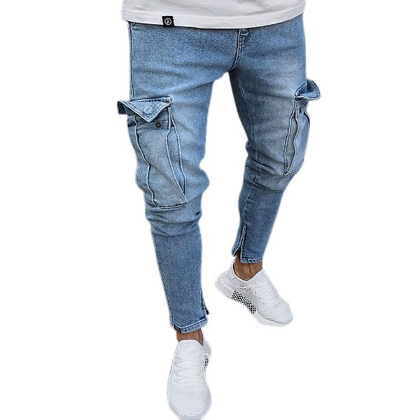 Men'S Jeans Trend Knee Hole Zipper Feet Trousers Ripped Pocket Jeans Hole Men Streetwear