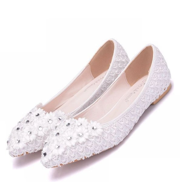 Crystal Queen White Wedding Flat Shoes low High Heels Women Shoes Heels Lace Appliques Rhinestone Bridal Dress Shoes Big Size