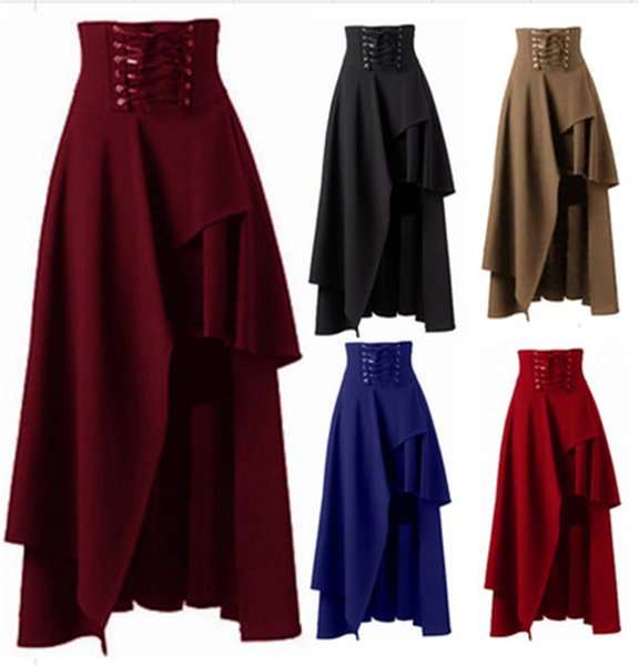 vente en gros jupe pour les femmes taille haute solide costume irrégulier partie montre jupes de danse plus la taille lacer des vêtements de coton