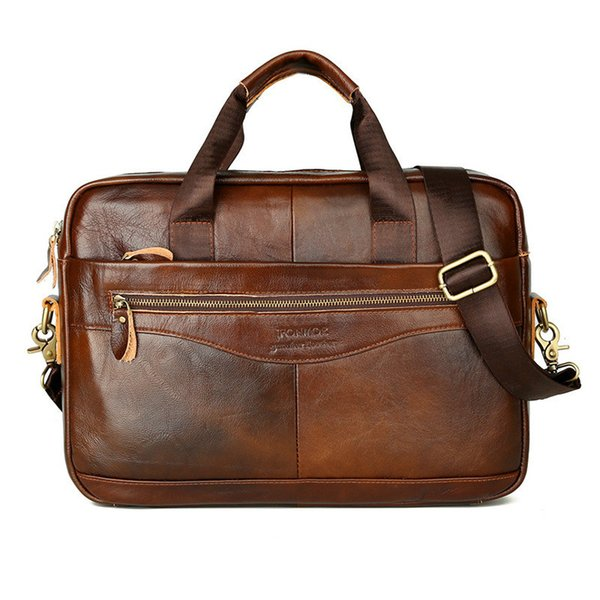 Mens Genuine Leather Handbags Leather Briefcase Crossbody Bags Men's High Quality Business Messenger Bags Laptop 2019 New