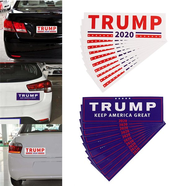 2 Styles Donald Trump 2020 Car Stickers 7.6*22.9cm Bumper wall Sticker Keep Make America Great Decal for Car Styling Paster DHL