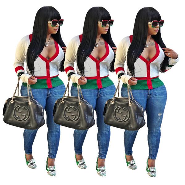 V profundo Neck Cardigan Listrado Womens tops de manga longa Sexy Ladies camisetas com bolsos Vestuário Feminino
