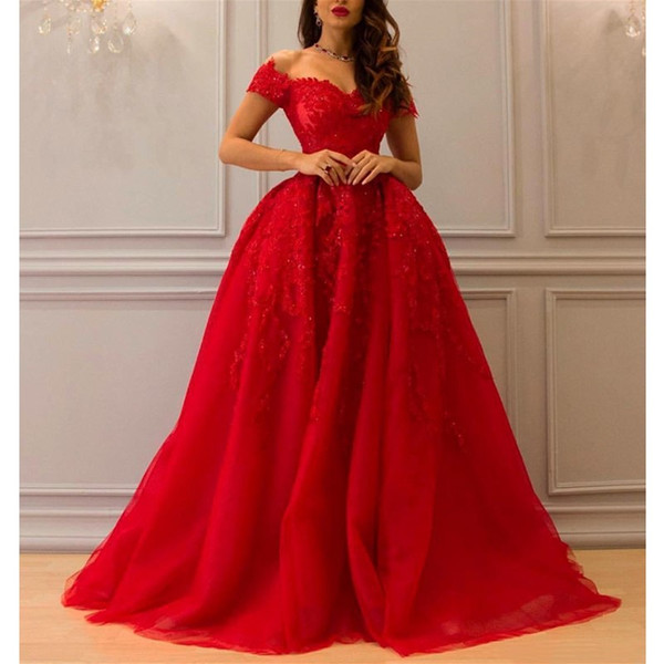 2019 Sexy Red Organza Ball Gown Prom Dresses Custom Beads Lace Off Shoulder Evening Gowns Sweep Train Plus Size Party/Cocktail Dress