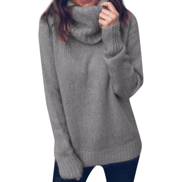 Мода Solid Color Ladies Высокой шея свитер свитер Элегантная осень и зима Ежедневно пуловер Удобные теплые основывая
