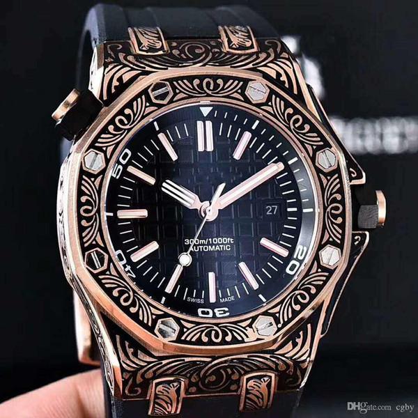 Orologio di lusso di fascia alta orologio di quercia reale, specchio zaffiro, nuovo guscio intagliato, orologio meccanico automatico maschile. I classici non possono essere persi.