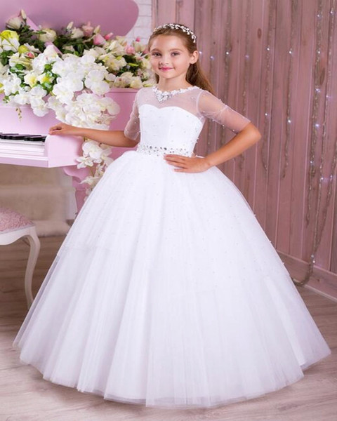 Unique Beauty Flower Girls Dresses For Wedding Party 2019 One Shoulder Handmade Flower Tiered Skirt Girls Pageant Gown