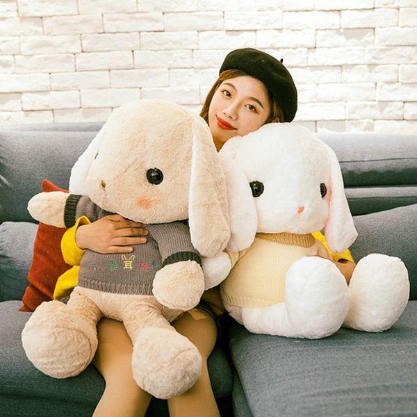 Plush Toy Long Ear Lop Sweater Bunny Doll Stuffed Animal Pillow Girl Baby Sleeping Holding Rabbit Doll Valentine's Birthday Gift