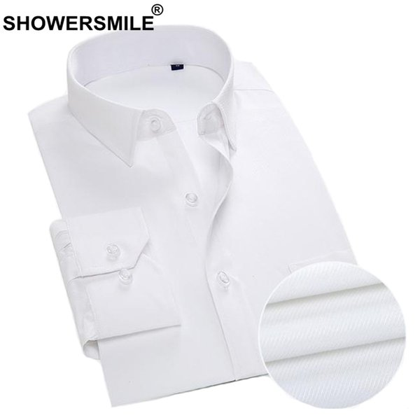 2019 Showersmile White Cotton Dress Shirt Men Big Size Work Wear Business Casual Shirt Male Long Sleeve Slim Fit Solid Social 530266 From Worldwind
