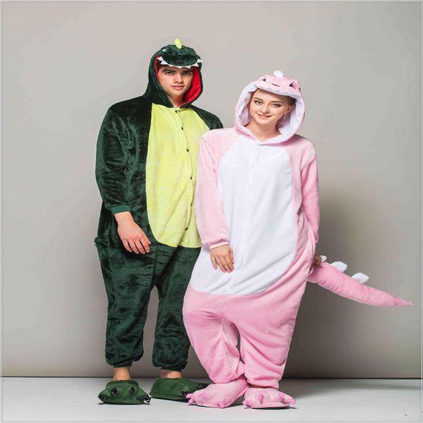 Adulto Dos Desenhos Animados Bonito Dinossauro Pijama Cosplay Onesie Com Capuz Sleepsuit Kigurumi Animal Macacão Pijama Unisex Sleepwear