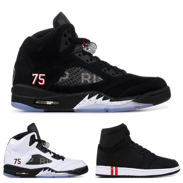 With box 1s 5s PSG mens basketball shoes for men Black white with 3M fashion mens Designer Trainer sports sneakers athletics Free Shipping