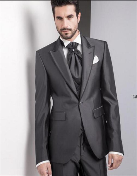 Custom Made Shinny grey High Quality Tailcoats Suit Blazer For Men Bespoke Long Tail Tuxedo Mens Wedding Suits 3 Pieces