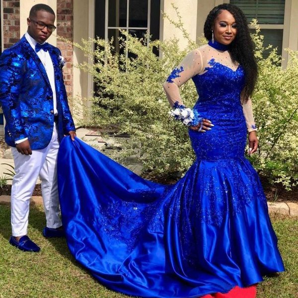 Plus Size Royal Blue Mermaid Prom Dresses 2019 High Neck Lace Stain Applique Long Sleeve African Black Girl Occasion Evening Wear Dress