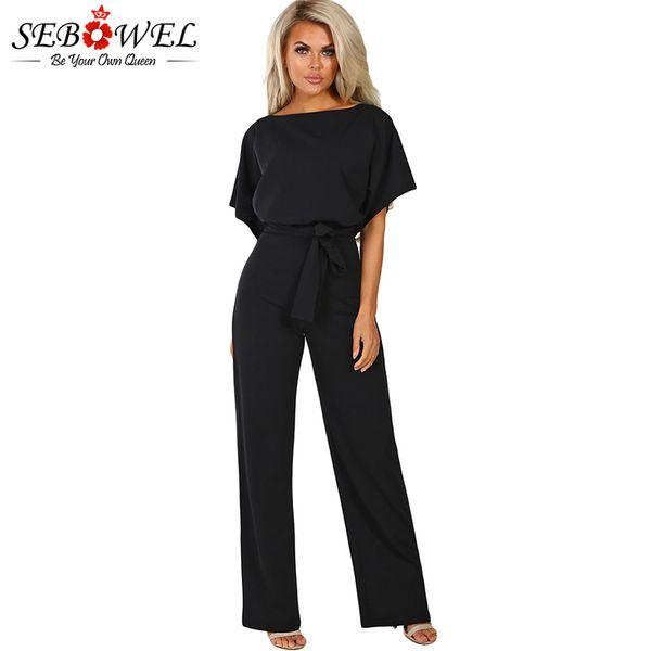 wholesale Black Belted Wide Leg Jumpsuit 2019 Summer Women Solid Short Sleeve Rompers Female Elegant Office Lady Wide Leg Pants