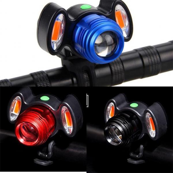 Carga USB Bicicleta de Montaña Ciclismo Luces de Múltiples Funciones Prácticas Head Light Negro Rojo Azul Lámpara de Advertencia LJJZZA173