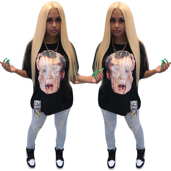Designer women T-shirt Short Sleeve Tee Tops Sexy Crew Neck tshirt Print Loose Summer Clothing Pullover Black plus size S-XL DHL 418