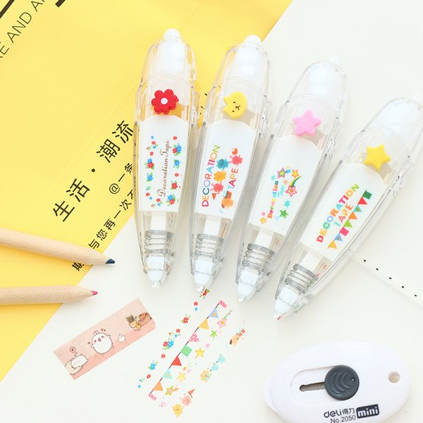 Flower masking stickers Cute designs correction tape Decorative adhesive tapes scrapbooking decoration School supplies F755 2016
