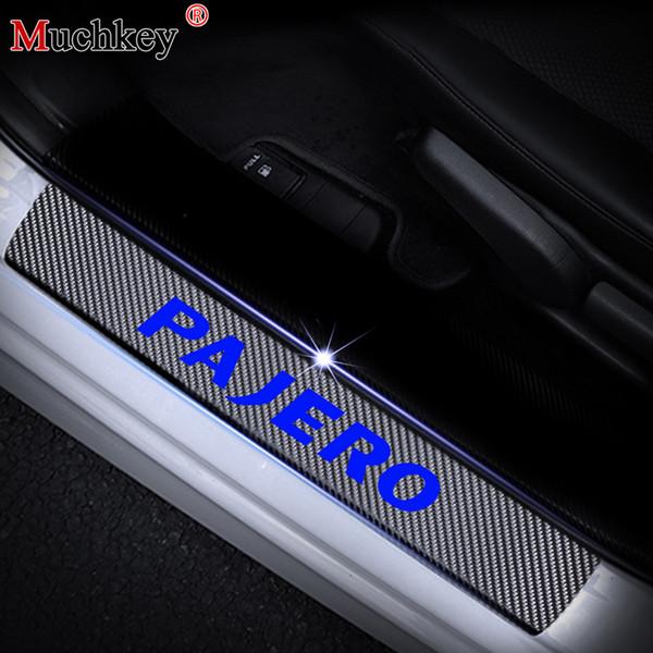 Stickers Styling Carbon Fiber Vinyl Sticker Car Door Sill Protector Scuff Plate Door sill guard For Mitsubishi PAJERO Car Accessories