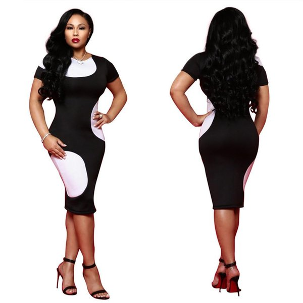 various styles wholesale dealer sale online Professional Dress Female New Black And White Hit Color Was Thin ...