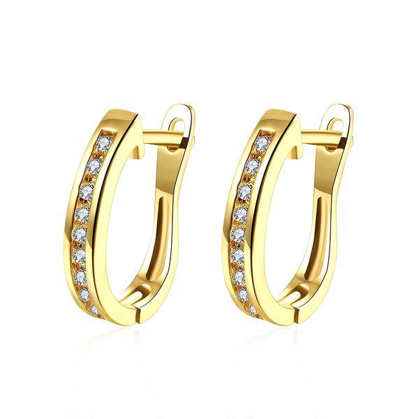 Simple Generous Earrings Imitation Gold Plated Geometric Shape Mosaic Zircon Clip-on & Screw Back Earring Trendy Accessory Gifts POTALA152