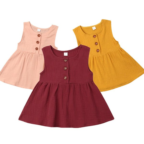 0-3Y Casual Infant Kleinkind Kinder Baby Mädchen Sleeveless Einfarbig A-line Urlaub Kleid Sommerkleid Kleidung