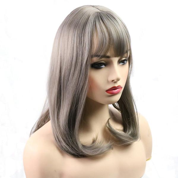Longue perruque synthétique droite perruque synthétique résistante à la chaleur de fibre de perruque pour la perruque droite de femme noire