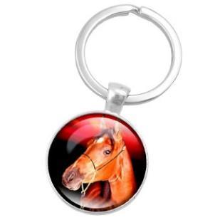 VIVID LIMITED EDITION HORSE HEAD ALLOY GLASS KEYCHAIN KEYRING KEY ACCESSORY KEY CHAIN KEY RING CABOCHON PRECIOUS STONE CAR BAG ACCESSORY