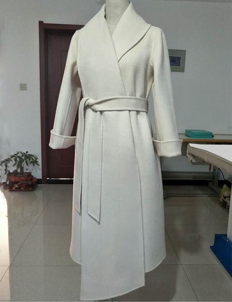 2018 invierno mujer moda lujo 100% lana largo diseño asimétrico de lana con cinturón sobretodo