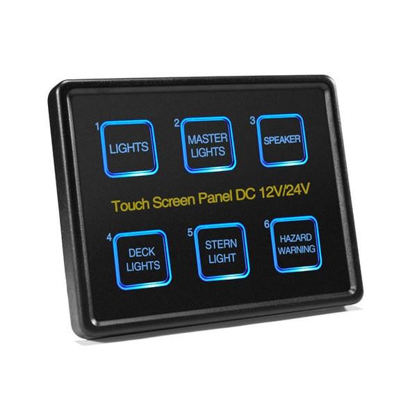 Mictuning 12V / 24V tactile Commutateurs écran du panneau 6 LED Gang Panneau de commande Boîtier de commande tactile pour Slim Car Marine Boat Caravan