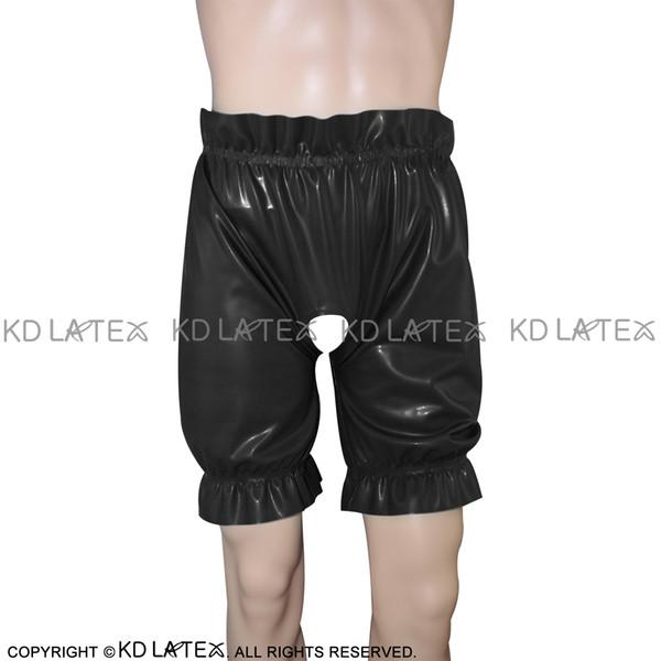 Black Sexy Latex Bloomers Long Leg Boxer Shorts With Loosely Smocking Fetish Rubber Boy Shorts Underpants Underwear Bondage Pants DK-0074