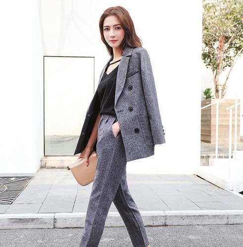 2019 Çalışma Pant Suit Kadınlar İş mülakat takım için 2 Adet Set Blazer ve Kalem Pant Office Lady elbise LM37 set