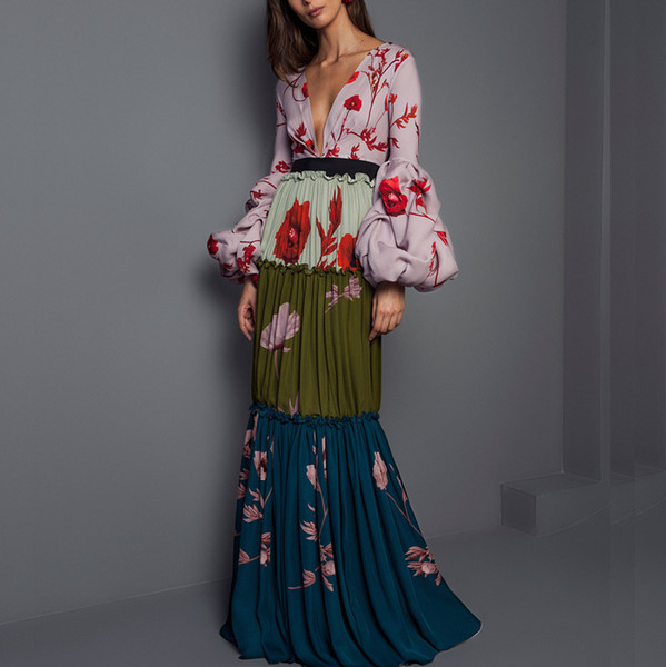 2018 winter new long pleated dress bohemian slim vestidos vintage lantern sleeve deep v long-sleeve printed party dress y190426