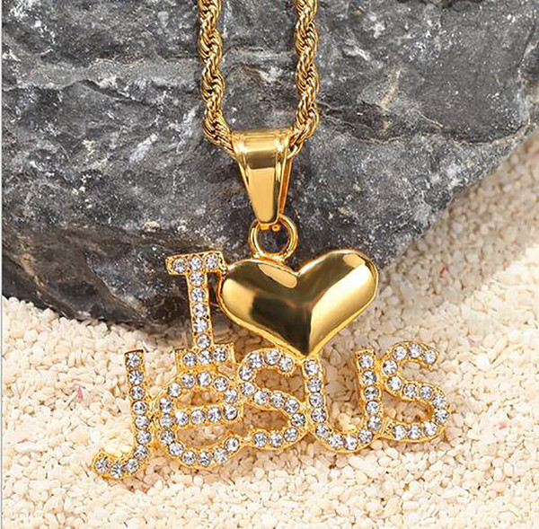 14K Iced Out Diamond ILoveJesus Pendant Necklace Bling Micro Pave Cubic Zirconia Simulated Diamonds 24inch Rope Chain