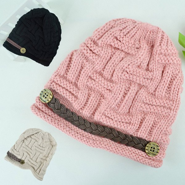 Sombreros de algodón sólido Unisex Invierno cálido Casquillo de punto casual Sombrero fresco y cálido, sombrero maduro y lindo